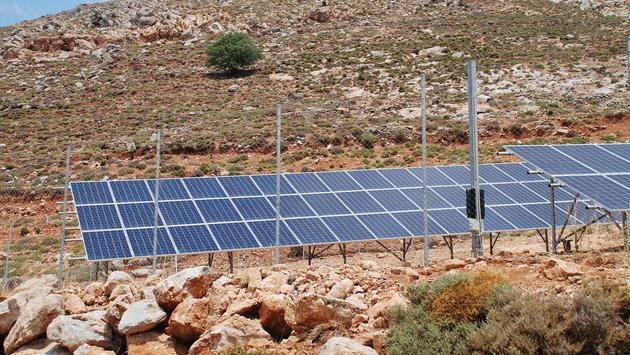The solar energy station on the Greek island of Tilos. The island aims to become self-sufficient in power through solar panels and a wind turbine generator. (iStock / Getty Images Plus / newsfocus1)