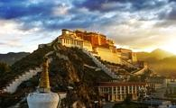 Magnificent view of Potala Palace in the hill at sunrise
