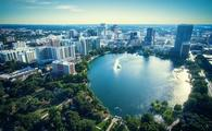View of Orlando Florida from Lake Eola Park