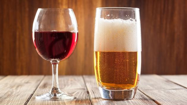 Red wine glass and glass of beer