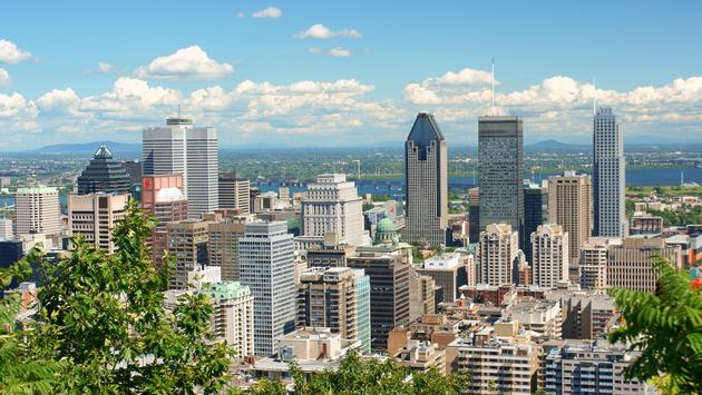 skyline of downtown Montreal on a cloudy day