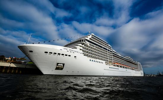 The MSC Magnifica in the Port of Hamburg in Germany