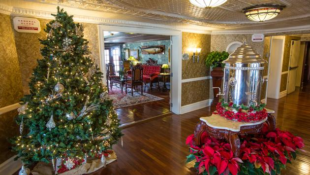 Holiday decor aboard American Queen