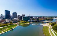 Aerial view of Downtown Dayton, Ohio with the Great Miami River