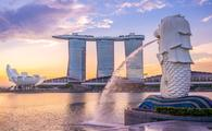 View of Merlion statue in Singapore
