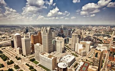 Aerial view of Downtown Detroit