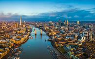 Panoramic aerial skyline view of London