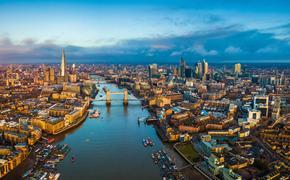 Panoramic aerial skyline view of London