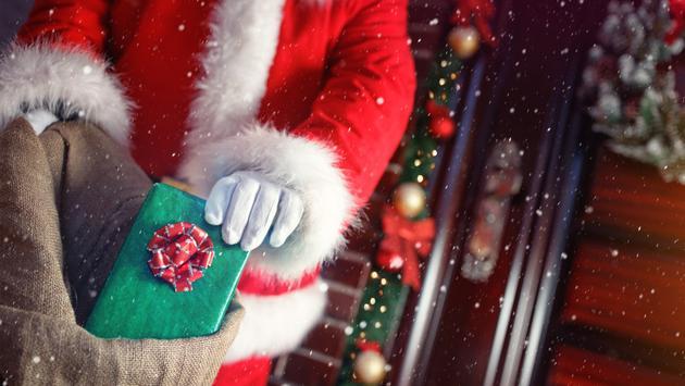 Santa, Christmas, present