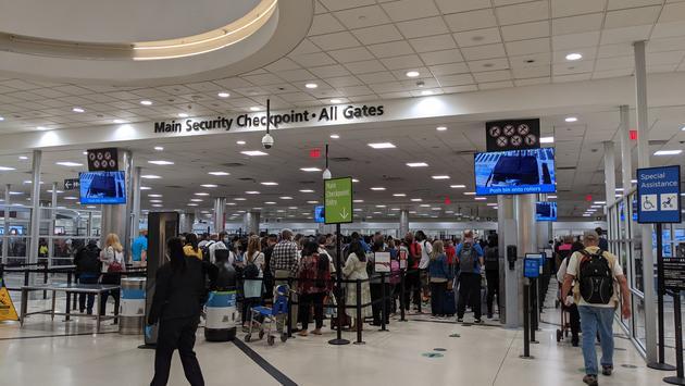 Security line at the Atlanta Airport