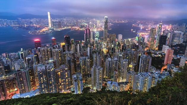 Hong Kong viewed from the top of Victoria Peak