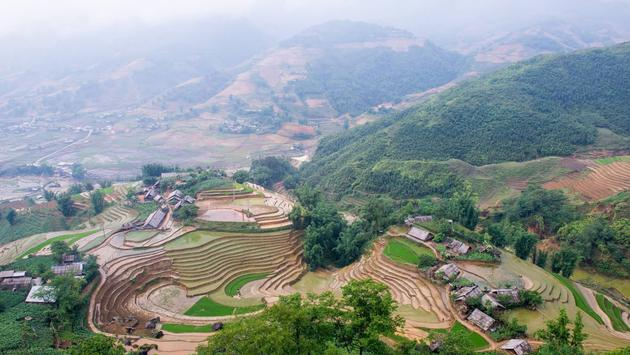 Aerial view of Topas Ecolodge and surrounding wilderness in Vietnam
