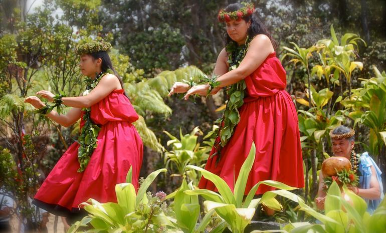 Hula dancers performing in Hawaii.