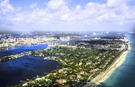An aerial view of the Atlantic Ocean and West Palm Beach, Florida