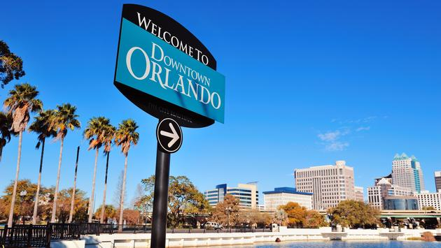 A welcome sign in Downtown Orlando, Florida