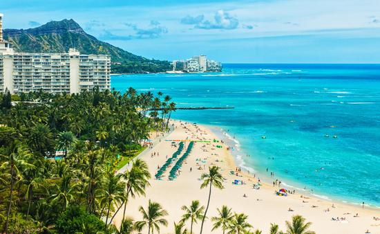 Aerial shot of Hawaii's Waikiki Beach