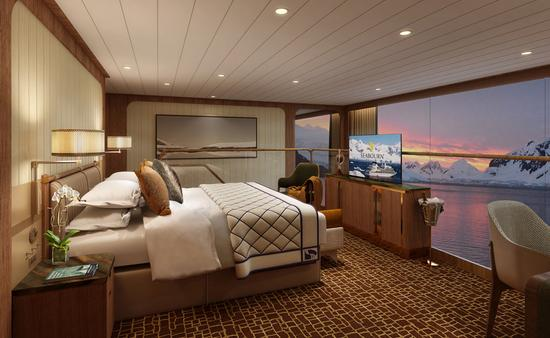The bedroom of the Seabourn Venture's two-story Grand Wintergarden Suite, a new suite category for the line.