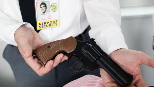 A handgun at an airport security checkpoint.