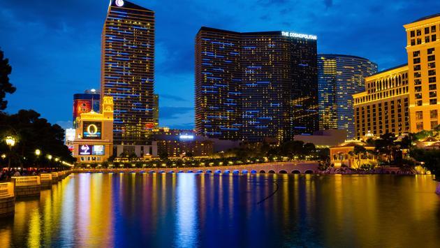 Nighttime at the Cosmopolitan in Las Vegas.