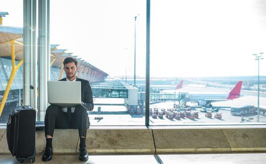traveler, airport, laptop