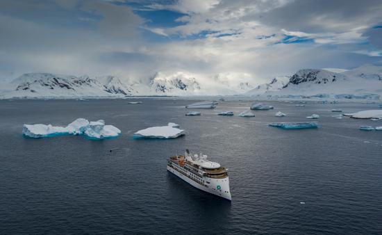 The Greg Mortimer in Antarctica.