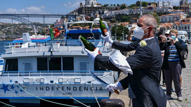 The christening of Uniworld's S.S. Sao Gabriel on Portugal's Douro River.