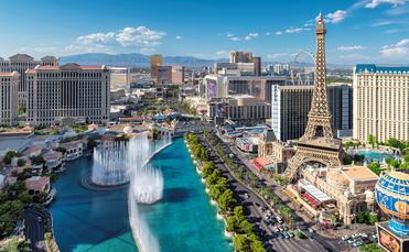The Bellagio Fountains on the Las Vegas Strip.