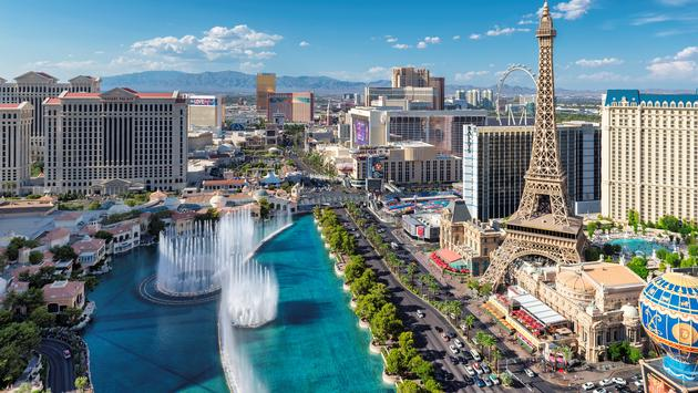 The Bellagio Fountains on the Las Vegas Strip.