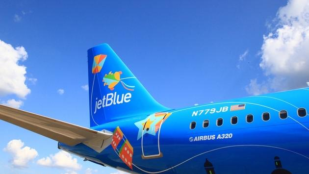 "JetBlue's Airbus 320 aircraft ""Bluericua"""