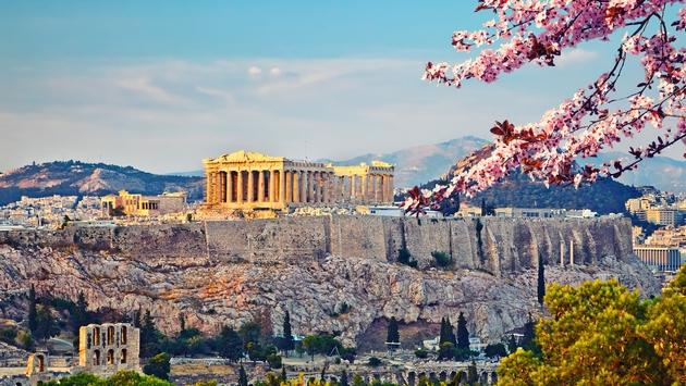 Acropolis in Athens at spring