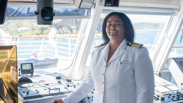 Windstar Cruises' Captain Belinda Bennett on the navigation bridge of Wind Star
