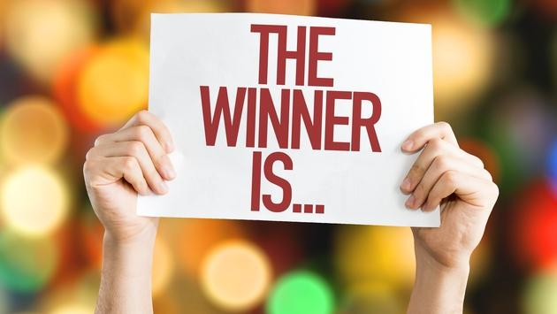 'The winner is' placard