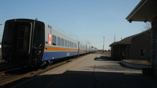 A VIA Rail train departs Belleville Station in Belleville, Ontario.