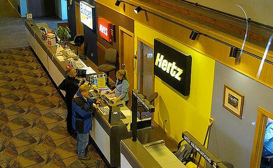 A Hertz Car Rental counter