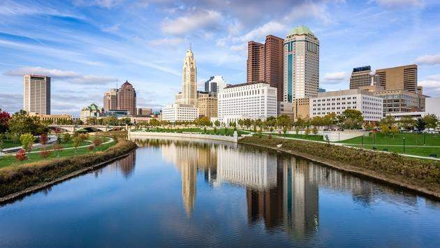 Downtown Columbus alongside the Scioto River.