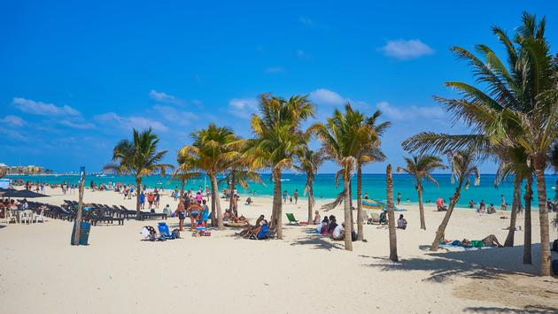 Spring Break at beach of 'Playa del Carmen' in Mexico