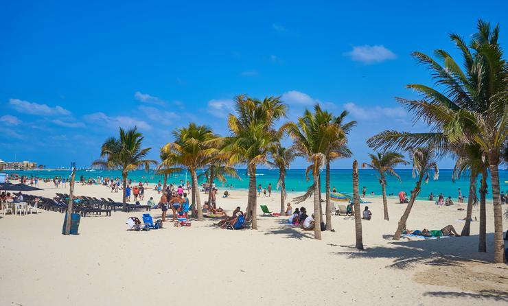 Spring Break at beach of 'Playa del Carmen' in Mexico