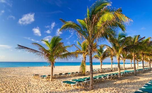Beach at Caribbean sea in Playa del Carmen