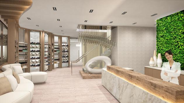Rendering of the reception area at The Spa at Palms