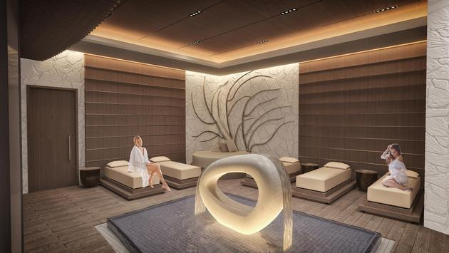 Rendering of the water lounge at The Spa at Palms