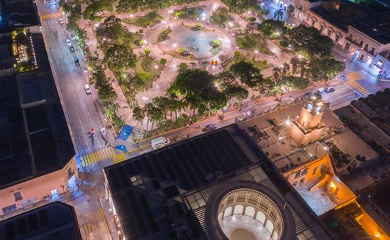 Vista nocturna de la ciudad de Mérida, Yucatán. (Foto de Sefotur)