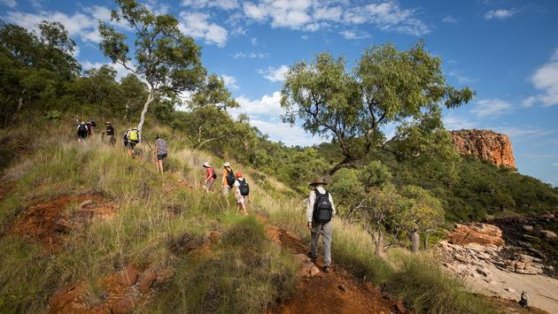 Silversea guests hiking in the Australian Outback