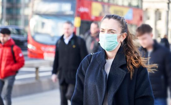 Young woman in London wearing a hygenic mask.