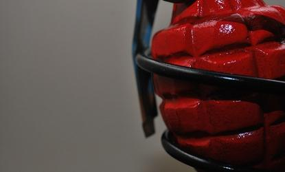 Red grenade close up