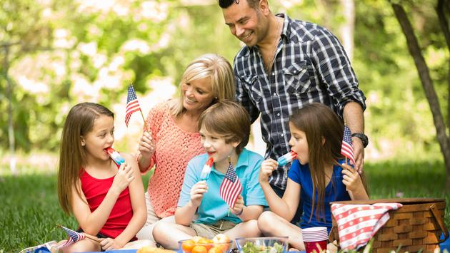 Family celebrating a U.S. national holiday with an outdoor picnic.