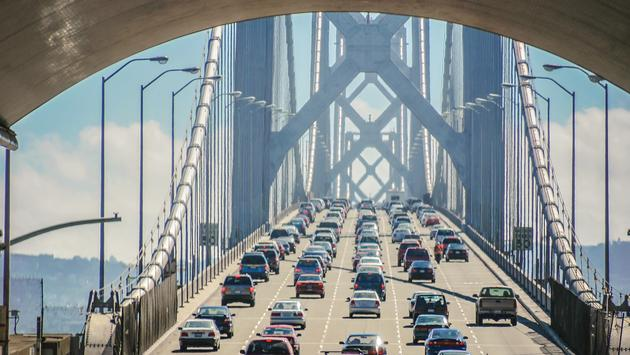 Traffic over the Bay Bridge in San Francisco