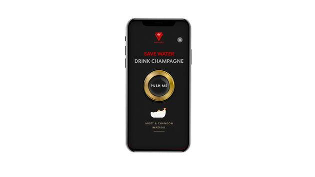 A smartphone with a button reading Save Water Drink Champagne