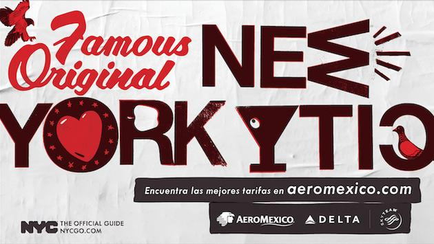 A 'Famous Original New York City' travel campaign billboard for the Mexico market