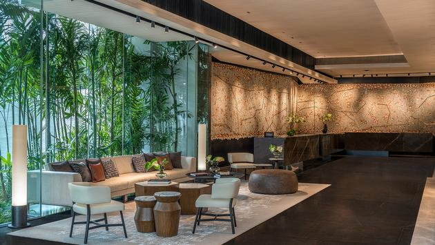 Reception area at DoubleTree by Hilton Bangkok Ploenchit.