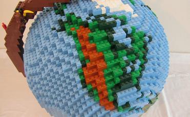 Lego globe showing North America